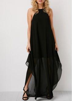 Chiffon Dresses Cutout Back Black Sleeveless Maxi Dress