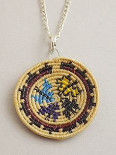 "Basket - Pendant Coiled with Butterflies 1"" by Manalisa Camarena (Navajo)"