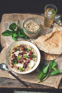 Baba Ghanoush Bowls with Pomegranate, Mint and Mozzarella