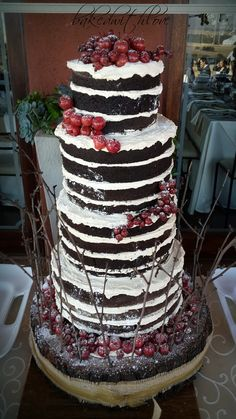 Naked Wedding Cake - Choc Devil foodcake with white choc creamcheese frosting.    https://www.facebook.com/pages/Baked-with-Love/115563808503000?sk=timeline