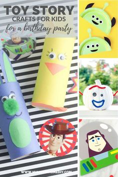 These 12 fun Toy Story crafts for a birthday party are some of the best ways to keep all your party guests entertained throughout the event. Party Activities, Craft Activities For Kids, Crafts For Kids, Party Games, Craft Ideas, Diy Ideas, Toy Story Birthday, Toy Story Party, Boy Birthday Parties