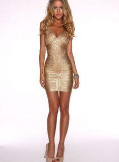 Gold Metallic Body Bandage  Dress,  Dress, bandage bodycon women evening, Casual