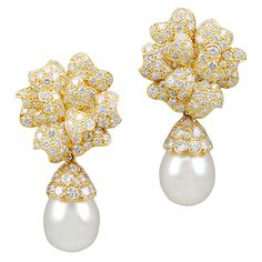 VAN CLEEF & ARPELS Diamond & Pearl Earrings | From a unique collection of vintage drop earrings at http://www.1stdibs.com/jewelry/earrings/drop-earrings/