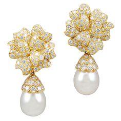 VAN CLEEF & ARPELS Diamond & Pearl Earrings | From a unique collection of vintage drop earrings at https://www.1stdibs.com/jewelry/earrings/drop-earrings/