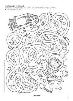 astronaut maze worksheet | Crafts and Worksheets for Preschool,Toddler and Kindergarten