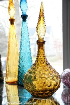 Collectingitis - Colorful Vintage Glass Decanters - Eclectically Vintage