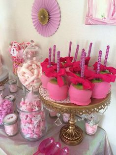 Ballerina birthday party candy apples and treats! See more party planning ideas at CatchMyParty.com!