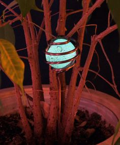 This decorative garden stake light up at night after being exposed to the sun or light.