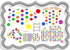 Free printable polka dot party decorations, birthday party themes, birthday party hats, kids birthday party ideas, party decorating ideas, birthday party decoration, party decorations, party kit