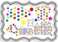Free printable polka dot party decorations, birthday party themes, birthday party hats, kids birthday party ideas, party decorating ideas, birthday party decoration, party decorations, party kit