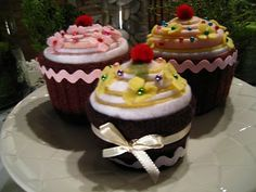 Cupcake Pincusions (or, decorations for a birthday party- if you ask me!