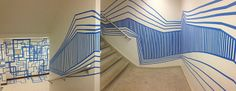 Temporary Tape Drawings - A lesson where students create interior designs using blue painters tape.