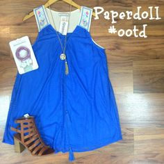 Happy Saturday, ladies!! Paperdoll #ootd is a *NEW ARRIVAL* dress with fun aztec straps and royal blue lace! Perfect for a day like today to go shopping or even a date night this weekend! We also just got a restock of the TechCandy phone chargers for every kind of phone out there all in one!! We just received a bunch of cute new purses, too!!! Come on by and check out all of our new stuff! We are all excited for all of the cute new sandals and jewelry, too!  Mallory