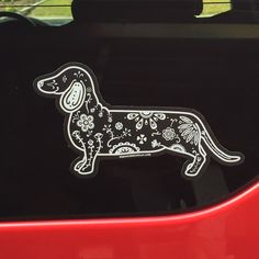 Sugar Skull Dachshund Decal - My Dog Is My Co-Pilot