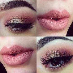 """Her makeup is Roll on Shimmer color """"Nude"""" outlined in """"mauve"""" and filled in with """"Nude Pink"""" and dab of concealer on the middle"""