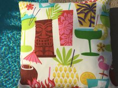 Outdoor Pillow Cover Tiki/ Custom Happy Hour by SunshineSkyStudio