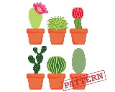 Cactus Pots Modern Cross Stitch Pattern Set of 6 Potted Cacti and Succulents Cactus Cross Stitch, Cross Stitch Kits, Cactus Amigurumi, Cactus Pot, Dmc Embroidery Floss, Cactus Y Suculentas, Modern Cross Stitch Patterns, Cacti And Succulents, Chain Stitch