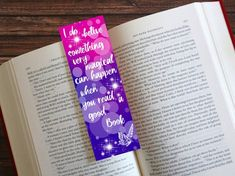 Printable bookmark printable quote bookmark gift for her image 3 Watercolor Bookmarks, Quotes For Book Lovers, Gifts For Readers, Printable Quotes, Good Books, Gifts For Her, Girly, Printables, Prints