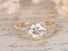 6.5mm Round Cut Charles & Colvard Moissanite Ring Moissanite Engagement Ring Diamond Wedding Band Solid 14K Yellow Gold,Rose Gold Available by kilarjewelry on Etsy https://www.etsy.com/listing/265048594/65mm-round-cut-charles-colvard