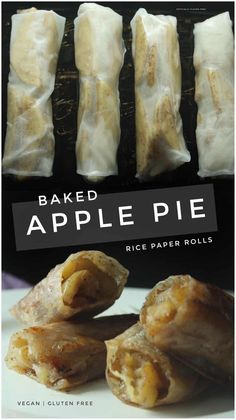 foods and desserts 5 Ingredient Gluten Free & Vegan Baked Apple Pie Rice Paper Rolls an Easy Dessert Made with Rice Paper and an Apple Gluten Free Sweets, Gluten Free Cooking, Dairy Free Recipes, Cooking Recipes, Gluten Free Apple Pie, Gluten Free Rolls, Gluten Free Wraps, Eating Gluten Free, Gluten Free Egg Roll Wrappers