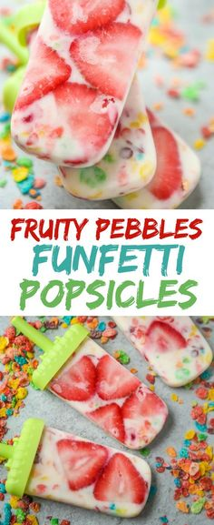 This homemade Fruity Pebbles funfetti popsicles recipe is a fun way to get kids to eat fruit and yogurt during the summertime. They're the perfect healthy alternative to the other treats your kids will be craving on a hot summer day. And bonus, they're healthy and on a stick. I mean, who doesn't love anything on a stick? Perfect to DIY with your kids then enjoy as a family. Sponsored by Pebbles Cereal