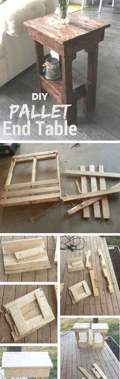 DIY pallet wood rustic coffee table pallet wood pallet projects diy furniture - Pink home decor - Wood Coffee Table Pallet End Tables, Diy End Tables, Rustic Coffee Tables, Diy Table, Wood Table, Side Tables, Pallet Benches, Rustic Table, Diy Pallet Furniture