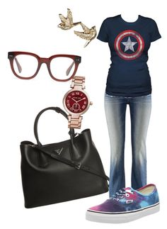 """Untitled #168"" by cool-rusti on Polyvore featuring Prada, H&M, Michael Kors, Madewell and Vans"