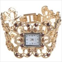 Antique Metal Chunky Hand Chain Style Wrist Analog Quartz Watch Timepiece with Rhinestones for Lady Woman - Golden