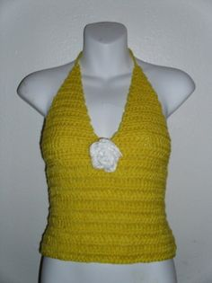 Sunshine Yellow Crochet Apron Halter Tank Top With Flower S to L