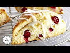How to Make AMAZING Lemon Cranberry Scone! - YouTube Lemon Cranberry Muffins, Cranberry Dessert, Pastry Recipes, Baking Recipes, Scone Recipes, Bread Recipes, Baking Buns, Baking Scones, Cookie Cake Pie