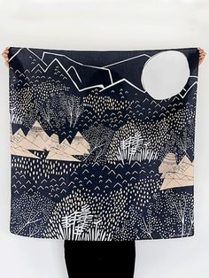 Mountain Blossom Midnight Blue Furoshiki by Link