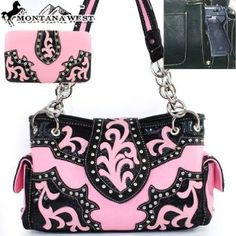 Amazon.com: Montana West Western Concealed Carry / Gun Pocket Sequined Cow Girl Rhinestone Gemstone Studded Floral Embroidered Chain Shoulder Strap Handbag Purse with Wallet in Light Pink and Black: Clothing $57.99