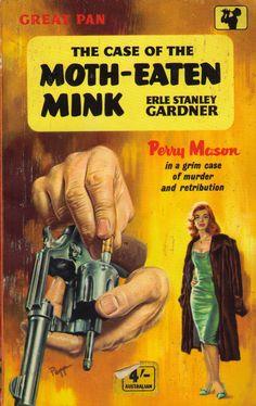 Erle Stanley Gardner, The Case of the Moth-Eaten Mink, Pan Books, 1958. Cover illustration by Sam Peffer.
