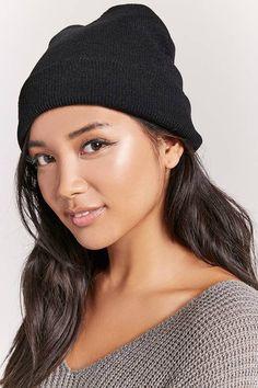 3782e37cd04 FOREVER 21 Fold-Over Knit Beanie knitbeanies Fedora Hat Women