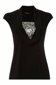 Silver sequins shine through beneath a stylish cowl neck. #partytop #nye