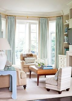 Love the wide banding on the drapes, but be prepared to pay more. For every seam there is a price. It's it worth it, Usually, as long as it is not over done. This is perfect. Soft, without too much contrast, suits this room down to the ground. Yes, that's a pun.