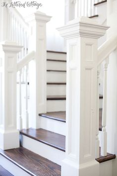 Open Staircase | Stairs | Newel Posts | Dark Wood Treads | Old House Stairways, ideas, stair, home, house, decoration, decor, indoor, outdoor, staircase, stears, staiwell, railing, floors, apartment, loft, studio, interior, entryway, entry.
