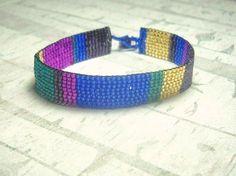 Bracelet Beadwoven With Purple Blue and by BeadWorkBySmileyKit, $18.00