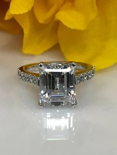 Diamond Rings Moissanite Emerald Cut Solitaire with Tulip Head design Engagement Wedding Anniversary Promise Ring Solid White Gold Emerald Cut Engagement, Engagement Ring Cuts, Wedding Engagement, Wedding Anniversary Rings, Wedding Rings, Diamond Jewelry, Silver Jewelry, Silver Ring, Diamond Rings