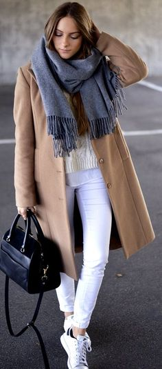 By Anna  Camel Coat On Whites Fall Street Style Inspo #Fashionistas