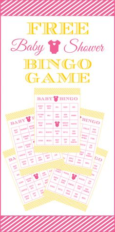 Free Pink and Yellow Baby Shower Bingo Printable Cards for a Girl Baby Shower with matching free girl baby shower party printables! | CatchMyParty.com