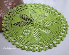 Lime green Doily Crochet doily Round crochet by CrochetbyMariana Free Knitting, Knitting Patterns, Crochet Patterns, Lace Doilies, Crochet Doilies, Doily Wedding, Wedding Decor, Decoration Ikea, Crochet Lace Edging