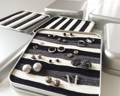 TOPOBOX square jewelry box with felt  stripes  for by topobox