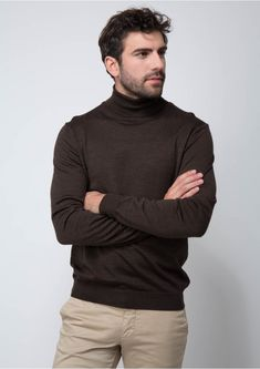 c59745c7b792 Pull marron col roulé en laine merinos. Pull marron col roulé en laine  merinos 54 marron glace - pull homme - father and ...
