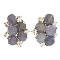 Oscar Heyman & Brothers Star Sapphire and Diamond Earclips