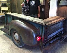 Man cave garage designs old rusty truck shop counter man cave garage floor plans Garage Furniture, Garage Interior, Automotive Furniture, Automotive Decor, Furniture Design, Diy Furniture, Man Cave Garage, Cave Bar, Garage Floor Plans