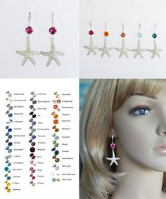 Choose Your Colour -- Starfish Crystal With Colour Earrings (Sparkle-2651)…
