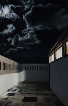 The unreal photorealistic oil paintings of corridors and hospitals by Gina Heyer, South African artist. South African Artists, Oil, Fine Art, Mansions, Night, House Styles, Artwork, Painting, Home Decor
