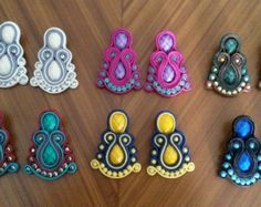 Tendrils soutache of colors. Made in the combination of your choice. Fabric Jewelry, Beaded Jewelry, Soutache Earrings, Fashion Earrings, Jewlery, Sparkle, Texture, Beads, Crochet