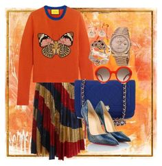 """""""Orange"""" by regine-alcasid-glammom ❤ liked on Polyvore featuring Home Decorators Collection, Gucci, Aurélie Bidermann, Rolex, Chanel, Effy Jewelry, Alexander McQueen and Christian Louboutin"""